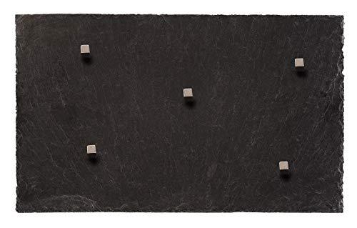 Board Boulevard Schiefer Magnettafel (Echt Massiver Stein) ! 50 cm x 30 cm - Pinnwand Kreidetafel inkl. 5 Neodym Magnete aus Spanischem Bergbauvorkommen