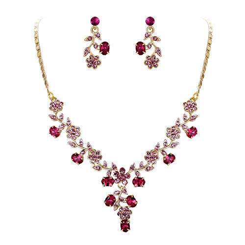 EVER FAITH Flower Leaf Necklace Earrings Set Austrian Crystal Gold-Tone - Pink