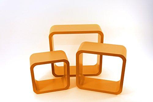 La Botica de los Perfumes set 3 estanterías con forma de cubo de madera naranja (Naranja)