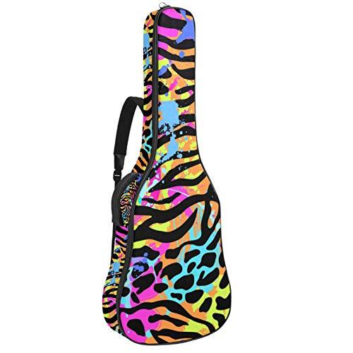 Funda de Guitarra Española Leopardo de color Bolsa Acolchada Para Guitarra Acústica con Asa de Transporte y Correa Para el Hombro 109x43x12cm