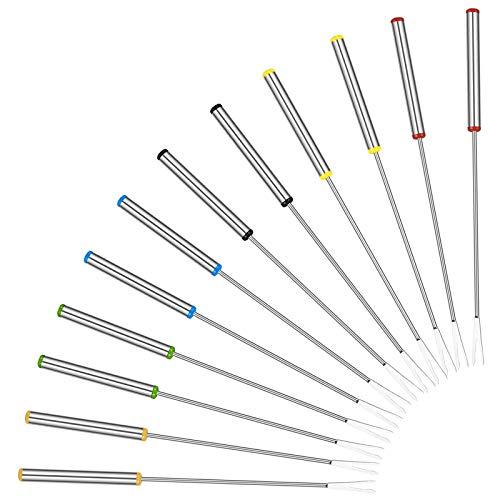 HAPPY FINDING Edelstahl Grillgabel Fondue Gabel - 12 Stück Set Fonduegabeln mit Griff aus Holz, Fonduebesteck aus Edelstahl, Fonduespieße 24 cm Länge (Edelstahl: Silber)