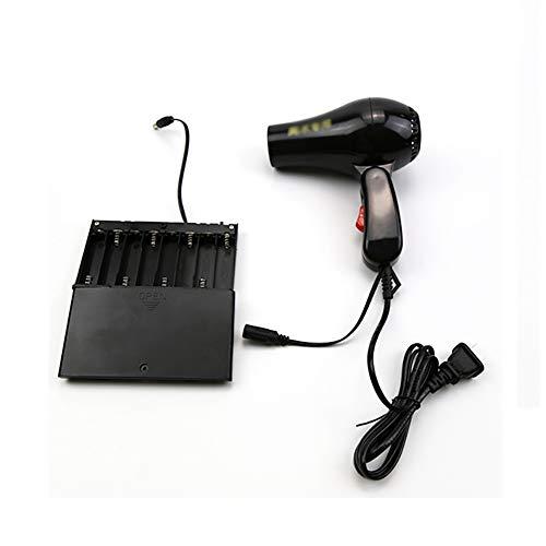 Asciugacapelli pieghevole, motore a corrente continua, con vano batteria, nero