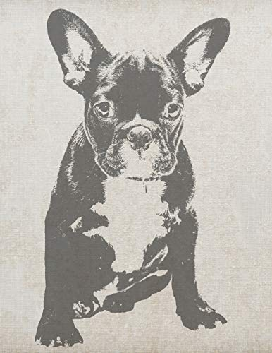 Vintage French Bulldog Notebook: Frenchie Composition Book Journal Diary Notepad for French Bulldog Lovers to Write in - Cool Vintage Screenprinted ... - (8.5 x 11 - 120 Pages - Wide Ruled)