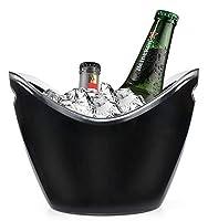 Yesland アイスバケツ 3.5L ブラック プラスチック パーティーボトル チラー - 10.5 x 8 x 7-3/4インチ アイス飲料/ストレージタブ - ワイン、シャンパン、ビールボトルに最適
