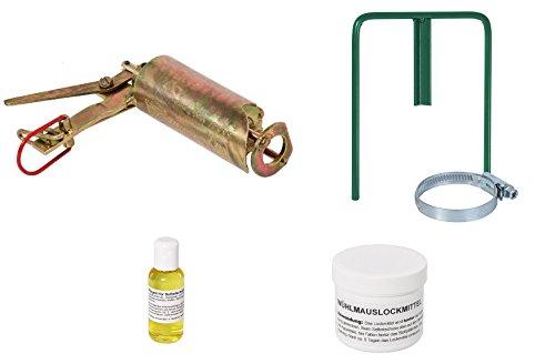 VOSS.farming Set Göbel Wühlmauschussfalle Selbstschusshalter + Öl + Lockmittel, Wühlmausfalle Schussfalle, Selbstschuss-Apparat, gegen Wühlmäuse