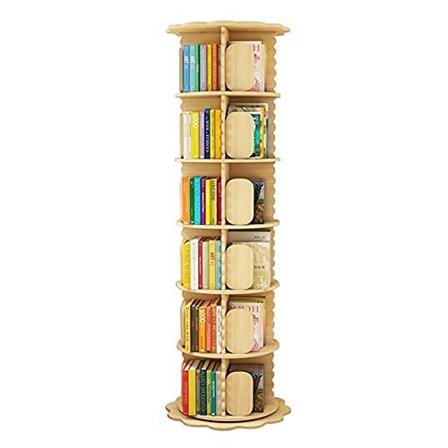 Librerie Girevole A 360 °,Scaffali da Terra Scaffale,Scaffale Ad Angolo per Studenti per Ufficio in Casa Soggiorno Studio Camera dei Bambini (Color : Wood Color, Size : 43 * 190cm)