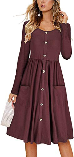 KILIG Women's Dresses Long Sleeve Casual Button Down Swing Dress with Pockets (D8-Red, Small)