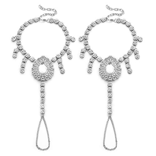 Ingemark 2 PCS Crystal Beach Wedding Foot Jewellery Barefoot Sandals Toe Ring Boho Anklet with Multi Tassel (Style 3 Silver)