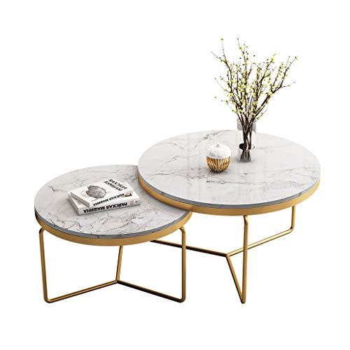 LAMXF couchtisch marmor rund, satztisch Metall 2er Set 2-teiliger Freizeit-Couchtisch Satztisch | Dekor Couch für Zuhause Wohnzimmer | Marmor Metal Base Nesting