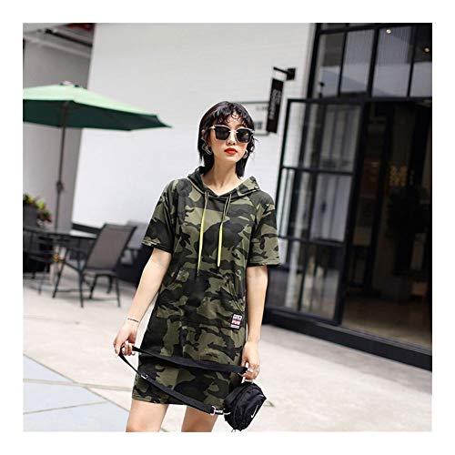 YUNGYE Camouflage Capuche Sweats À Capuche Femmes Robe Printemps Taille Plus Manches Courtes Robes Sweat Militaires De Haute Qualité Streetwear Casual (Color : Army Green, Size : L)
