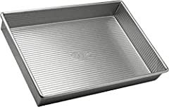 9 x 13 inch rectangular Cake Pan; commercial grade and heavy gauge aluminized steel with a lifetime warranty USA Pan baking pans feature Americoat which promotes quick release of baked-goods plus fast and easy clean up; wash with hot water, mild soap...