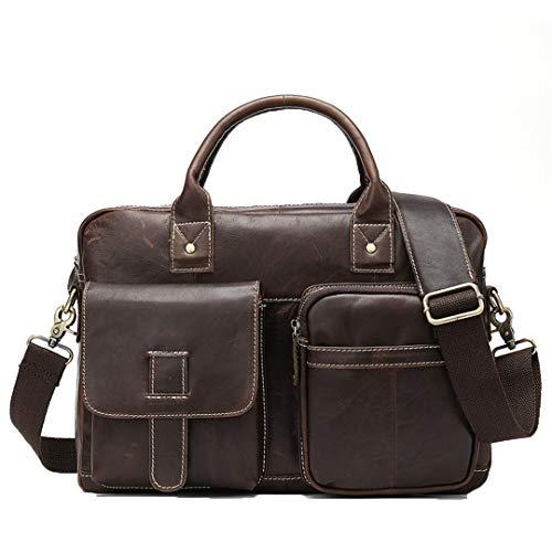 Pan&Bazstny Men's Genuine Leather Laptop Bag Office Bags Business Porte Document Briefcase Handbag 8503F4coffee