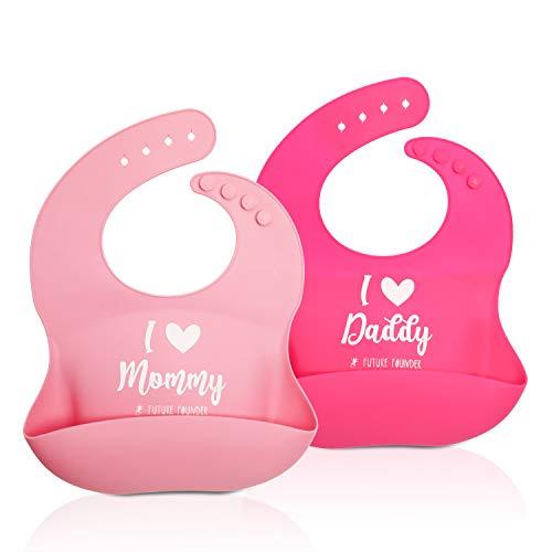 Future Founder Lätzchen Baby Silikon plastik weich Wasserdicht lätzchen mit auffangschale silicone abwaschbar Fütterlätzchen 2pcs für Säuglingen (Pink Und Rose Red)
