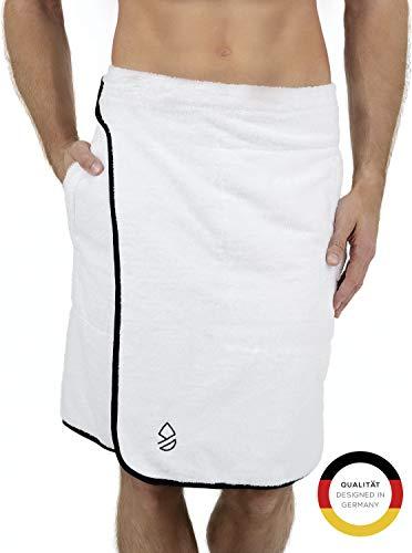 Barewell - Premium Saunakilt Herren, Flauschig weiches Saunatuch aus hautverträglicher 100{895a7c053829a61c2f8ad43f890724adaee70e8711275069bc0a0f940820da09} Bio-Baumwolle, Saunakilt in 140x55cm (Weiß) mit Klettverschluss - Größe S bis XL