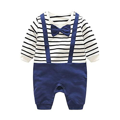 Minizone El traje de bebé algodón Romper Boy manga larga pijama suave con Bowtie