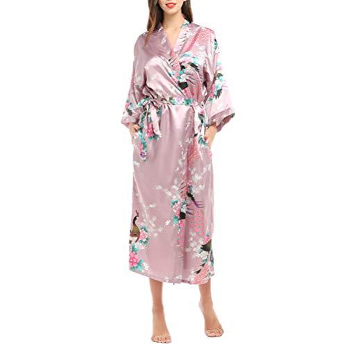 NONE Batas de Kimono para Mujer Camisón de Seda con Estampado de Pavo Real Camisón Largo con Cinturón Ajustable Rosa Claro XL