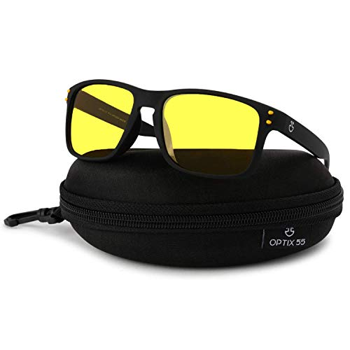 Optix 55 Night Vision Glasses for Driving, Anti-Glare Polarized, Night Driving Glasses for Men & Women, Yellow-Tinted with Hard Case (Night Vision/Black)