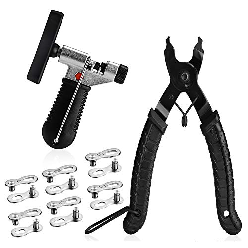 A AKRAF Bicycle Chain Repair Tool Kit with Bike Link Plier, Chain Breaker Splitter Tool, 6 Pairs Bicycle Missing Links, Bicycle Mechanic Tool Kit with Chain Master Link Remover and Connector