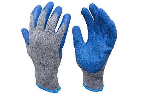 G & F Products 12 Pairs X-Large Rubber Latex Double Coated Work Gloves for Construction, gardening gloves, heavy duty Cotton Blend,3100XL,Blue
