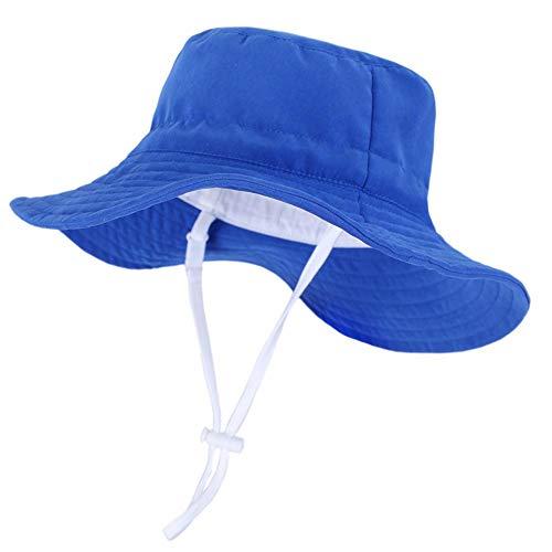 Drawihi Kinder Fischerhut, dunkelblau, große Krempe, Sonnenschutz, Baby, Kleinkind, Jungen, Kinder, Baumwolle Gr. 50 cm, dunkelblau