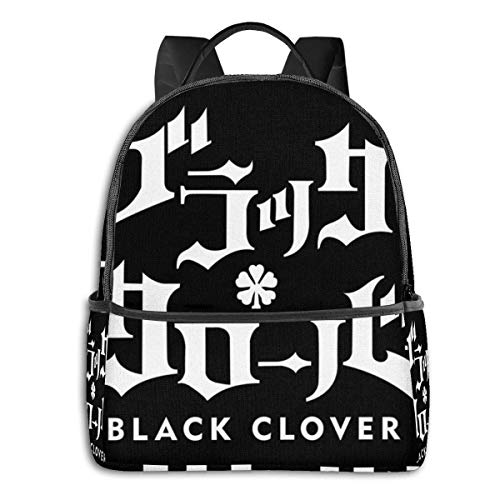 IUBBKI Mochila lateral negra Mochilas informales Anime & Black Clover Logo Student School Bag School Cycling Leisure Travel Camping Outdoor Backpack