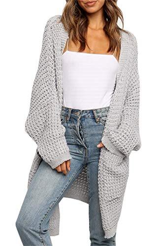 ZIYYOOHY Damen Long Cardigan Sweaters Übergroße offene Fledermausärmel Herbst Strick Mäntel mit Tasche (2006Grau, S)