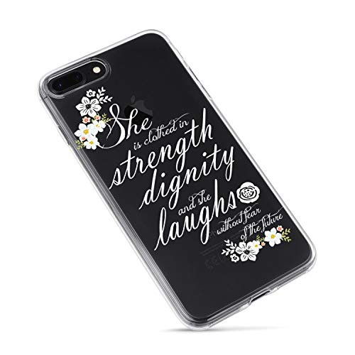iPhone 7 Plus/iPhone 8 Plus Case,Flowers Floral Roses Bible Verses Quotes She is Clothed with Strength & Dignity Proverbs 31:25 Cute Inspirational Soft Case Compatible for iPhone 7plus/8plus
