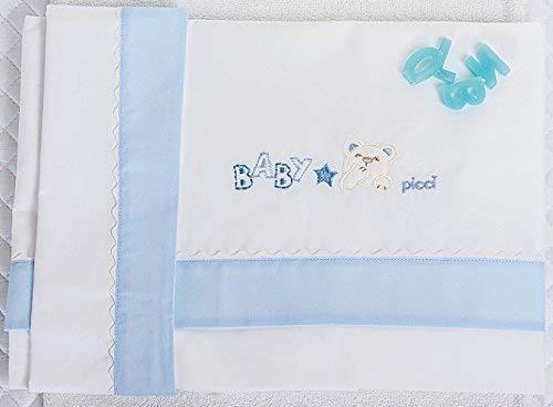 Picci Lit Berceau Mami Ensemble de 3 Brodé Cod.61,18 Var 03 Blanc Bleu