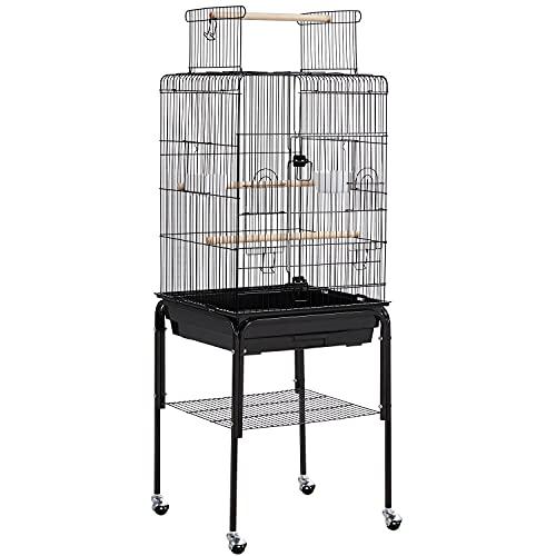 Yaheetech Gabbia per Uccelli con Piedistallo Canarini Pappagalli in Metallo con Tetto Apribile Nera 46 x 46 x 119 cm