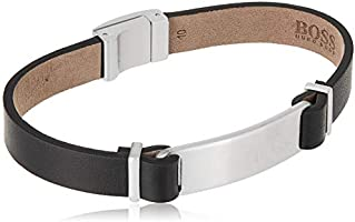 HUGO BOSS MEN'S STAINLESS STEEL & BLACK LEATHER BRACELETS -1580044M