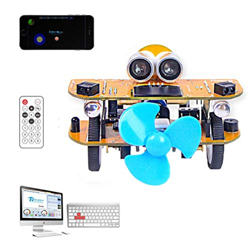 ANAN Kit de Coche Robot 3 métodos de Control, Kit Robótico Coche Educativo Stem, Edición gráfica Dual ensamblar Bricolaje Kit Coche, Evitación obstáculos por ultrasonidos