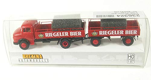 Brekina Mercedes-Benz L 322 Riegeler Bier - Bierpritschen-Hängerzug 1:87