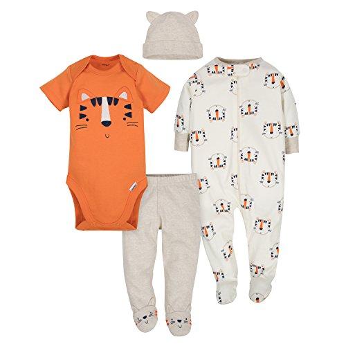 Gerber Baby Boys' 4-Piece Sleep 'N Play, Onesies, Pant and Cap, Happy Tiger, 3-6 Months