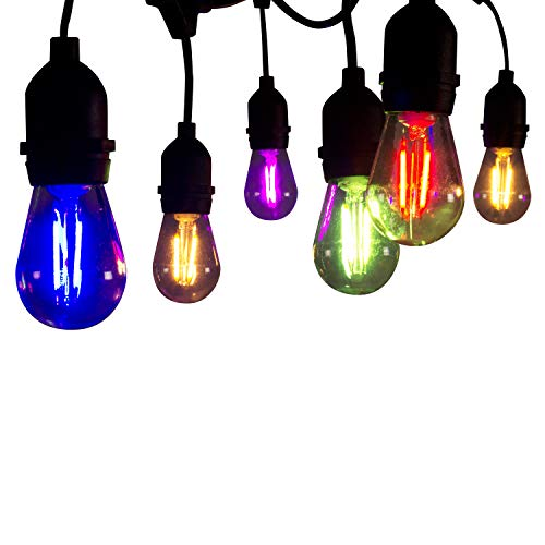 Muslish S14 LED Edison Light Bulbs, Colored LED Filament Bulb Dimmable 1.5W, 20 Watt Equivalent, Shatterproof Vintage Light Bulb for Outdoor String Lights,Party and Events Decoration 6 Pack