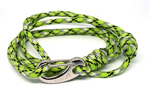 Paracord Karabiner Armband aus Segeltau von Eva.Lyttle UNISEX (Poison Green)