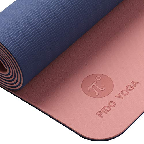 "WWWW PIDO Yoga Mat Eco Friendly TPE Non Slip Yoga Mats by SGS Certified with Carrying Strap,72""x24"" Extra Thick 1/4"" for Yoga Pilates Fitness Exercise Mat"