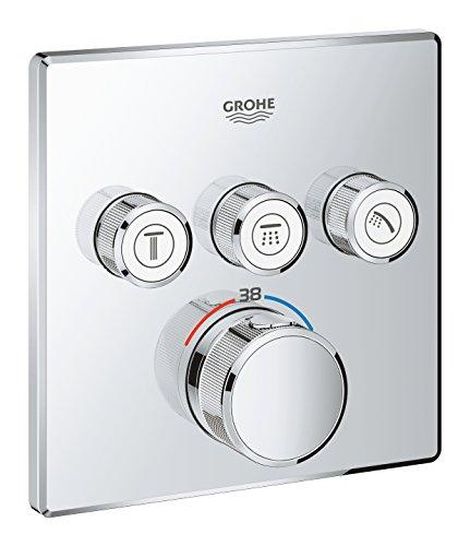 Grohe Grohtherm SmartControl - Termostato cuadrado para ducha o baño con instalación empotrada y tres válvulas, Cromo (Ref. 29126000)