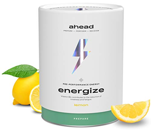 ahead ENERGIZE, Natürlicher Pre Workout Booster Vegan 450g mit Vitamin B6, B12, L-Citrullin, Arginin, L-Theanin, Panax Ginseng, für Training, Wettkampf, Lemon, Made in Germany