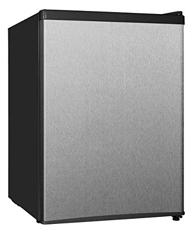 Midea WHS-87LSS1 Compact Single Reversible Door Refrigerator and Freezer, 2.4 Cubic Feet, Stainless Steel (Renewed)