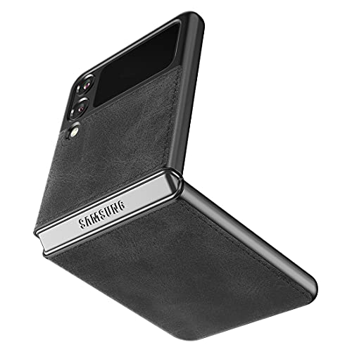Cresee kompatibel mit Samsung Galaxy Z Flip 3 5G Hülle, PU-Leder Handyhülle Hülle Schutzhülle Cover für Galaxy Z Flip3 2021, Schwarz