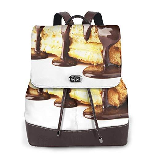 SGSKJ Rucksack Damen Nachtisch-Sahnekuchen-Schokoladen-Bonbon, Leder Rucksack Damen 13 Inch Laptop Rucksack Frauen Leder Schultasche Casual Daypack Schulrucksäcke Tasche Schulranzen