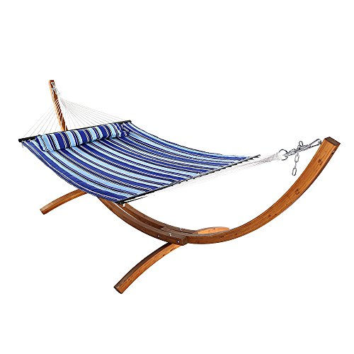 Sunnydaze Quilted Double Fabric 2-Person Hammock with 12-Foot Curved Arc Wood Stand, Catalina Beach, 400 Pound Capacity