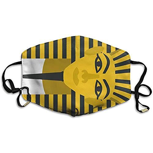 Máscara egipcia del faraón Dorado Máscara Impresa para Hombres y Mujeres Máscara Transpirable a Prueba de Polvo de poliéster