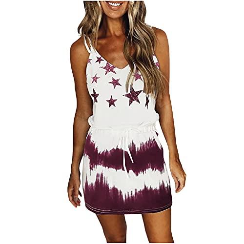 StarneA Vestido de verano para mujer, corto, suelto, informal, para la playa, sin mangas, con estampado de tie, largo hasta la rodilla, con cordón, elegante vestido de vacaciones Vino XL