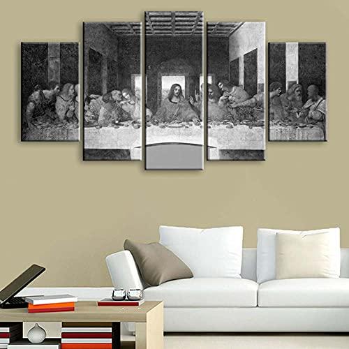 KOPASD Impresión de Lienzo de Pared Arte Imagen,La última Cena Pintura RomáNtica De Arte para Sala De Estar Dormitorio,100x55cm 5 Piezas