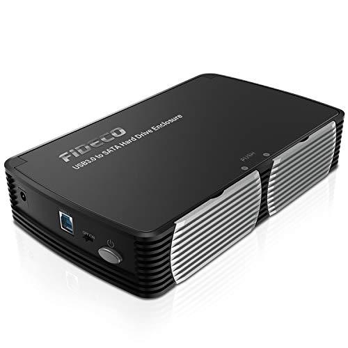 FIDECO Festplattengehäuse, USB 3.0 Festplatten-Dockingstation mit der Geschwindigkeit von 5Gbps, Externes Festplatten-Caddy-Lesegerät für 2,5 und 3,5 Zoll SATA HDD und SSD (Unterstützt UASP)