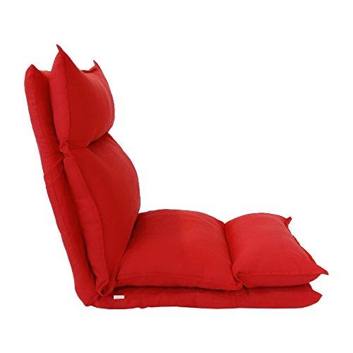 Rebecca Meubelstuk RE6199 Zitting, Yoga stoel rood, metaal en veloursleder zacht, Riposo veranda, kunstleer, rood, 56 x 15 x 135 cm