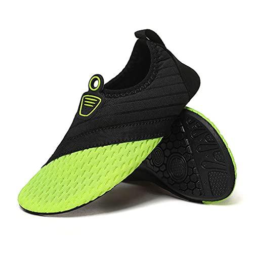 Calzado de agua para hombre descalzo de secado rápido calcetines antideslizantes para playa al aire libre, natación, yoga y piscina, verde oscuro, 36 EU