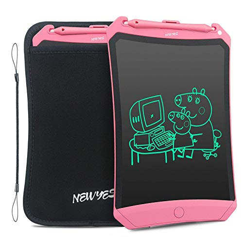 NEWYES Robot Pad 8.5 Inch LCD Writing Tablet Electronic Writing Pads Drawing Board Gifts for Kids Office Blackboard with Lock Function (Pink+Case+Lanyard)