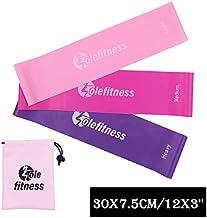 Conjunto de 3 Piezas de cinturón de Anillo de Resistencia Rosa, con Bolso, Banda elástica, Equipo de Gimnasia para Mujer, Utilizado para Ejercicios en el hogar y en el Gimnasio - Juego de 3-30x7.5cm